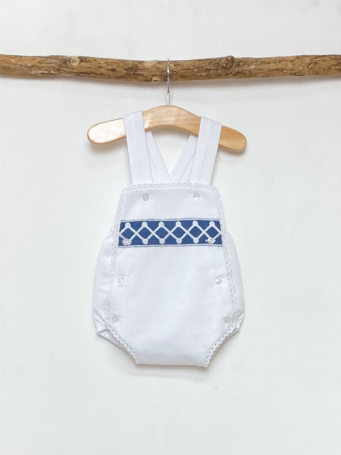 White & Cobalt Blue Panel Bib Romper