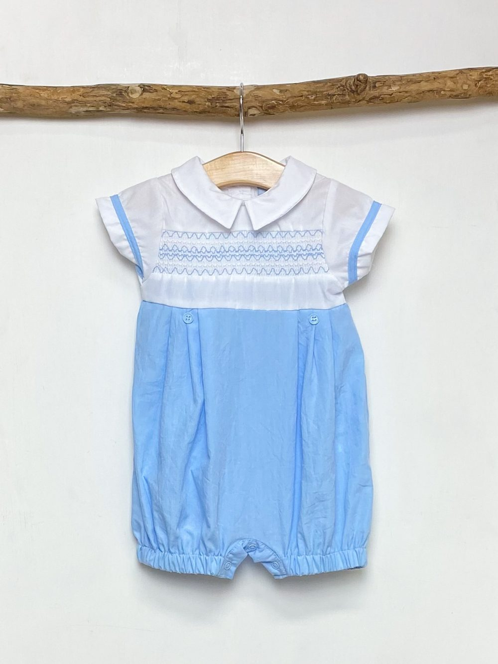 White & Sky Smocked Romper