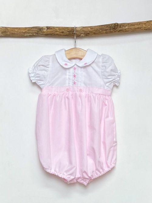 White & Pink Embroidered Romper