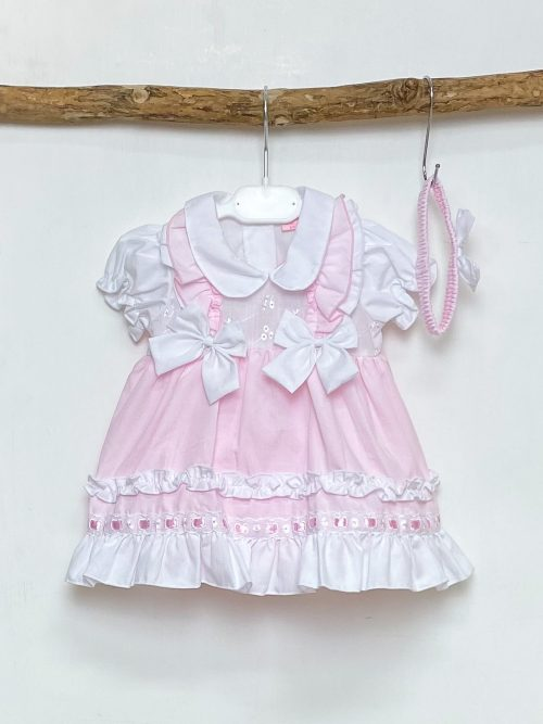 Pink Double Bow Pinafore Dress Set