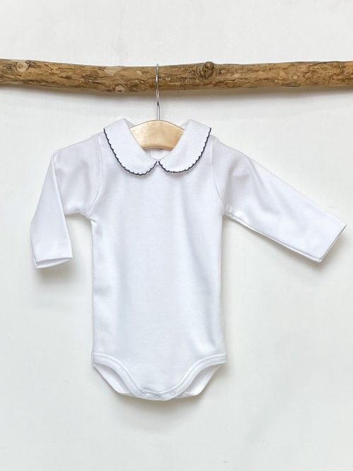 Navy Trim Peter Pan Bodysuit