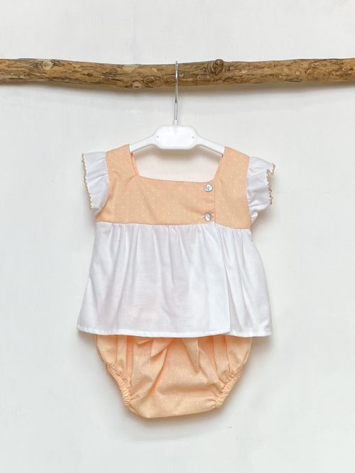 Blouse & Peach Polka Dot Bloomers