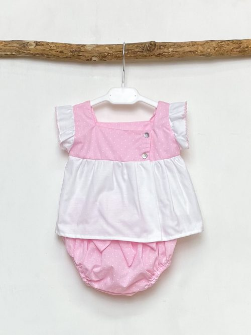 Blouse & Pink Polka Dot Bloomers