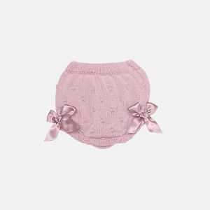Dusky Pink Raised Bow Bloomers
