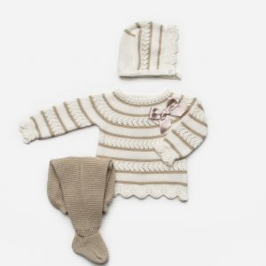 Ivory & Bronze Striped Jumper & Leggings