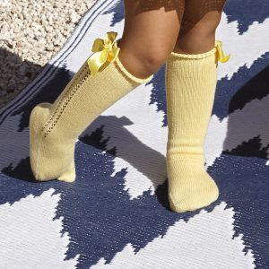 Yellow Openwork Panel Bow Socks