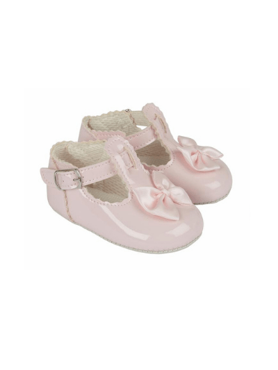Pink Scallop Bow Pre Walkers