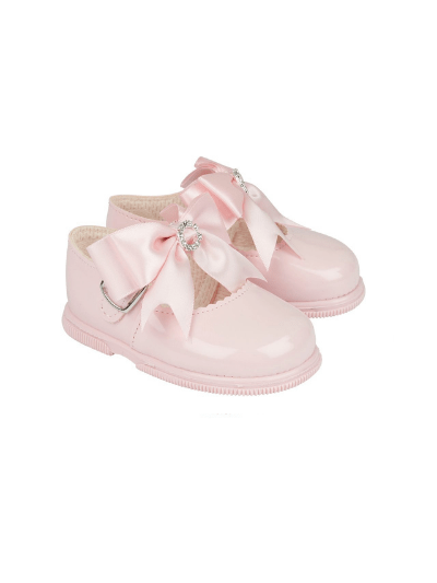 Pink Diamanté Bow First Walkers