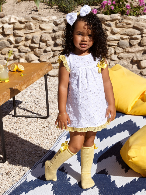 White & Yellow Broderie Anglaise Dress