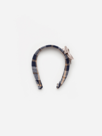 Navy & Camel Checked Headband