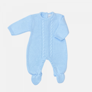 Blue Cable Knit Onesie