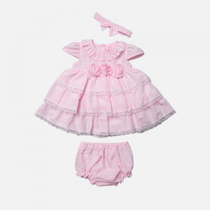 Pink Rosette Tiered Dress Set