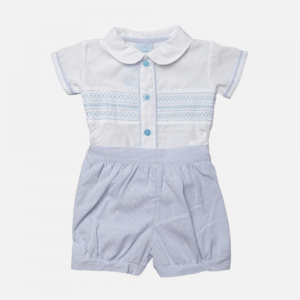Smocked Shirt & Pinstripe Shorts