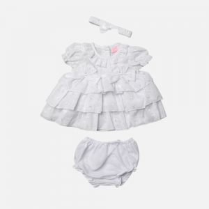 White Tiered Broderie Dress Set
