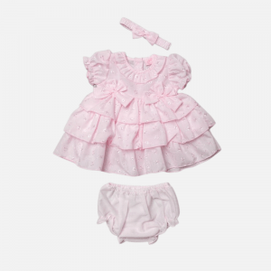 Pink Tiered Broderie Dress Set