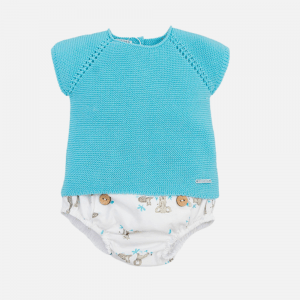 Turquoise Knitted Top & Safari Pants