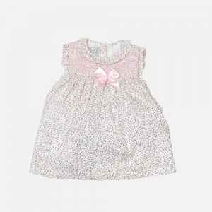 Pink Ditsy Floral Bow Dress