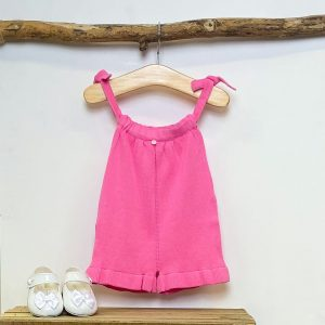 Fuchsia Frilled Knitted Playsuit