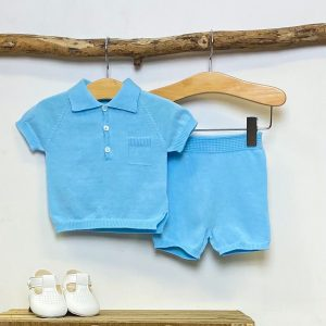 Blue Knitted Polo & Shorts