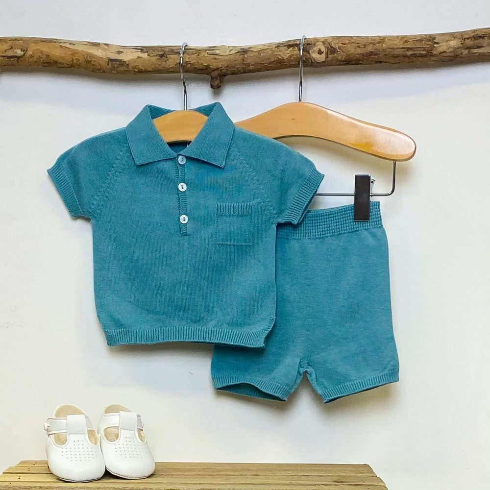 Teal Knitted Polo & Shorts Set 3