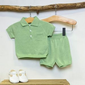 Green Knitted Polo & Shorts Set 3