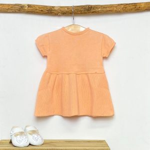 Peach Knitted A-Line Dress
