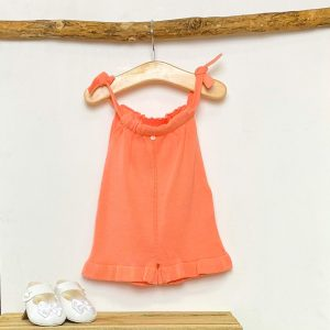 Coral Frilled Knitted Playsuit