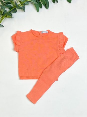 Coral Knitted Top & Leggings