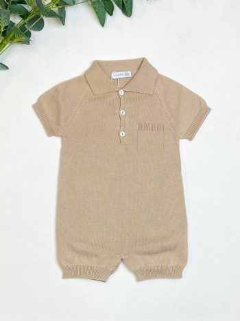 Beige Knitted Polo Romper