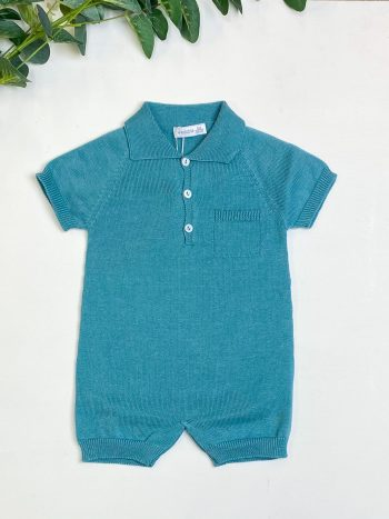 Teal Knitted Polo Romper