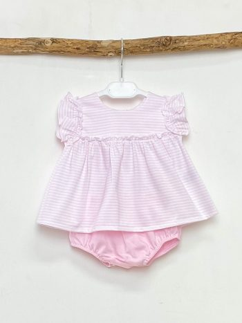 Pink Striped Blouse & Bloomers