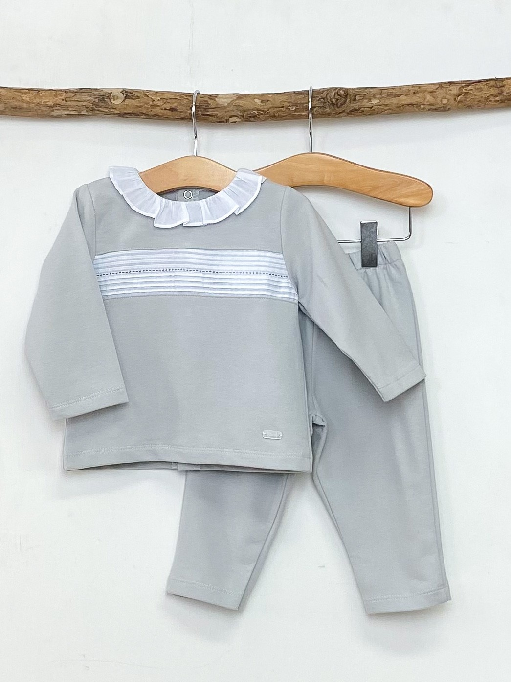 Grey Pleated Loungewear Set