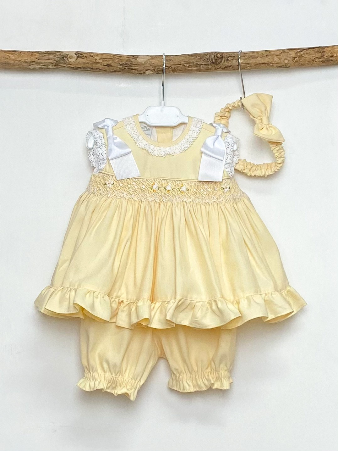 Yellow Smock Ruffle Dress & Bloomer Set