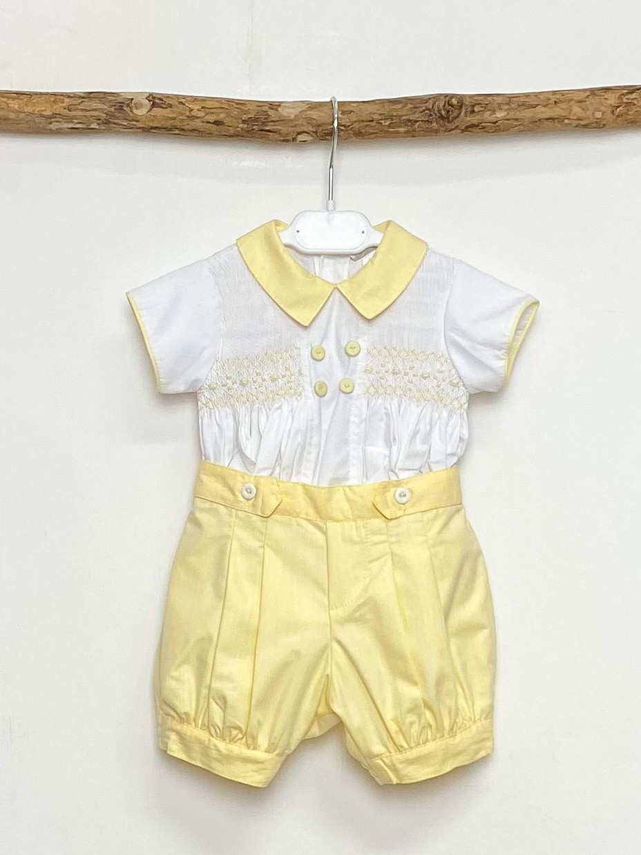 Yellow Smocked Shirt & Shorts