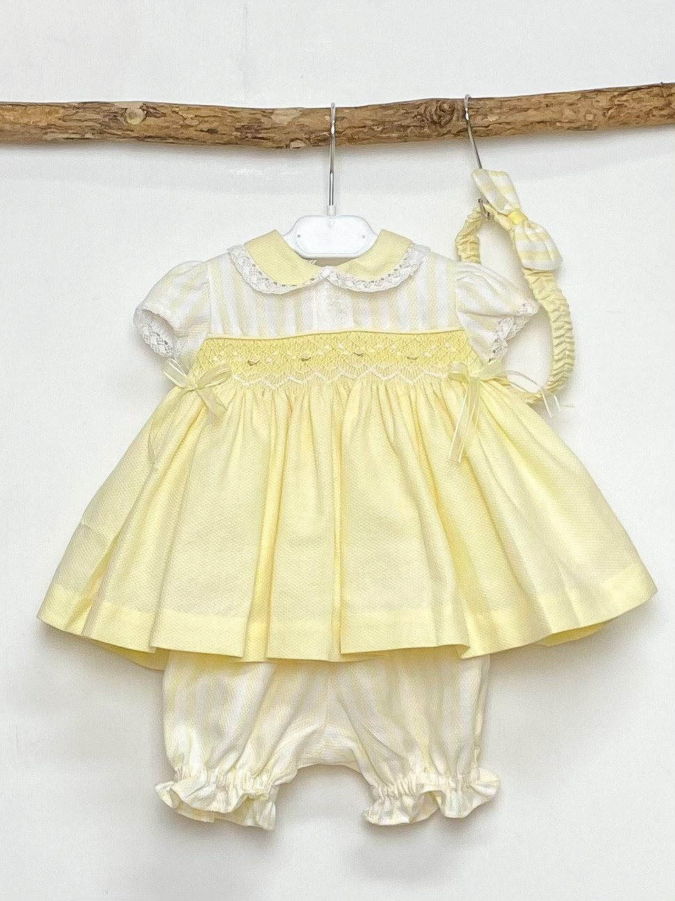 Yellow Rose Smocked Dress & Bloomer Set