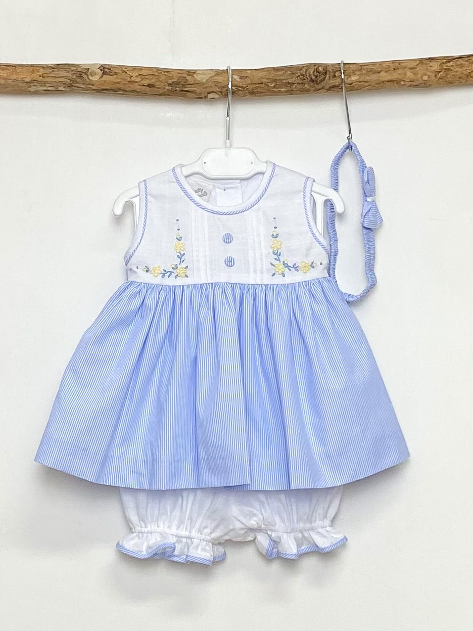 White & Blue Pinstripe Dress Set