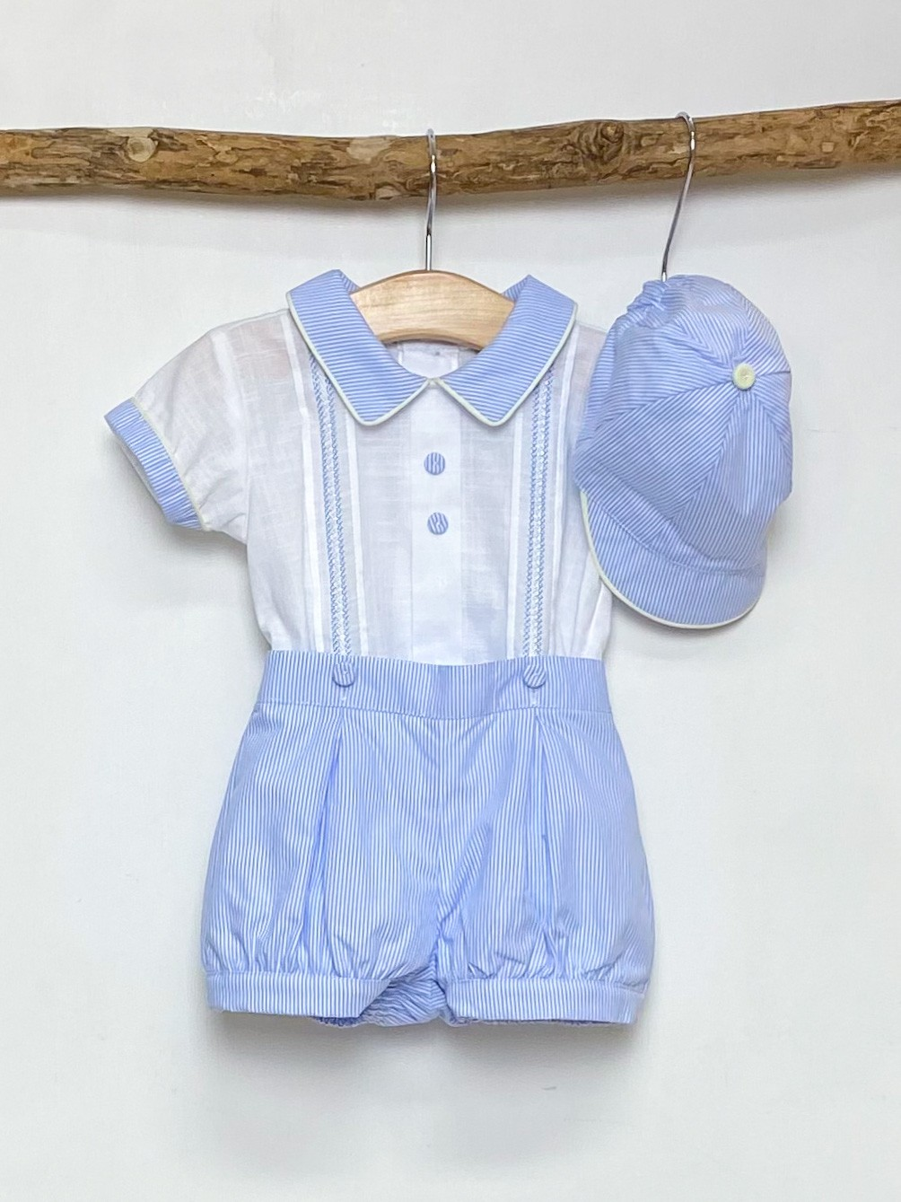 White Shirt & Pinstripe Shorts Set