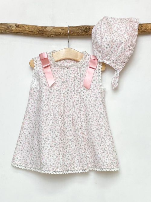 Dandelion Print Dress & Bonnet