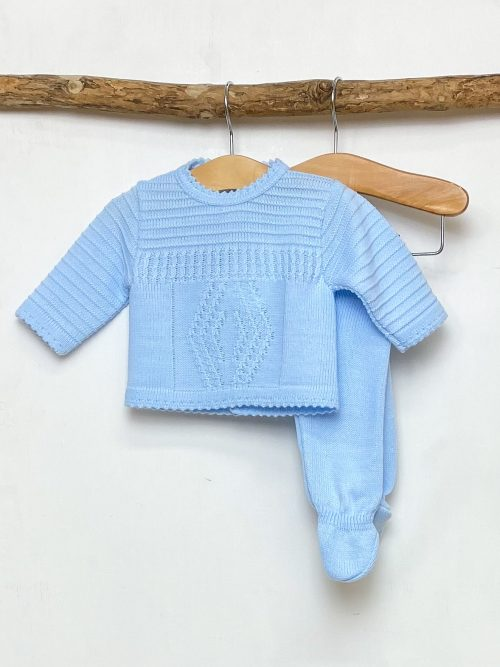 Blue Diamond Knitted Two Piece