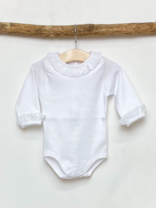 White Broderie Collar Bodysuit