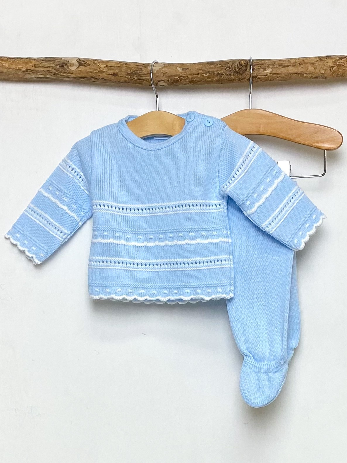 Blue Pointelle Knitted Two Piece