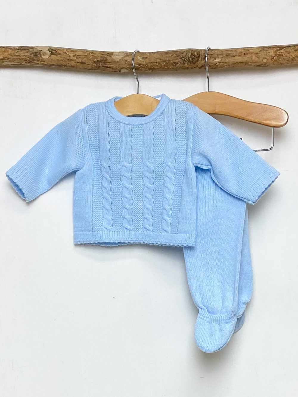 Blue Cable Knitted Two Piece