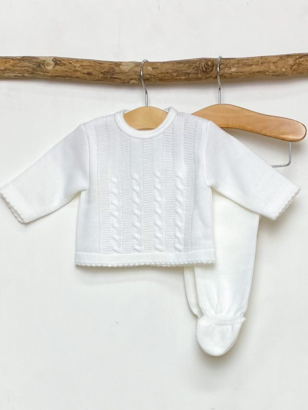 White Cable Knitted Two Piece