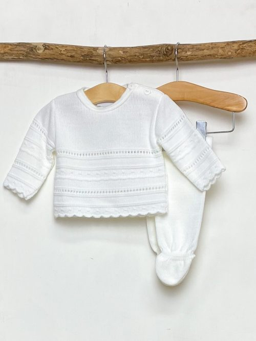 White Pointelle Knitted Two Piece