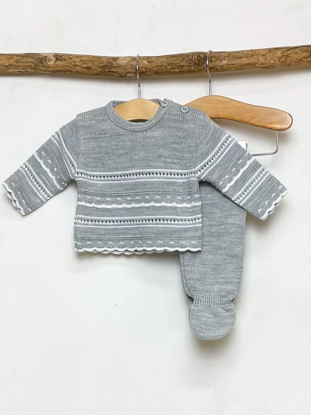 Grey Pointelle Knitted Two Piece