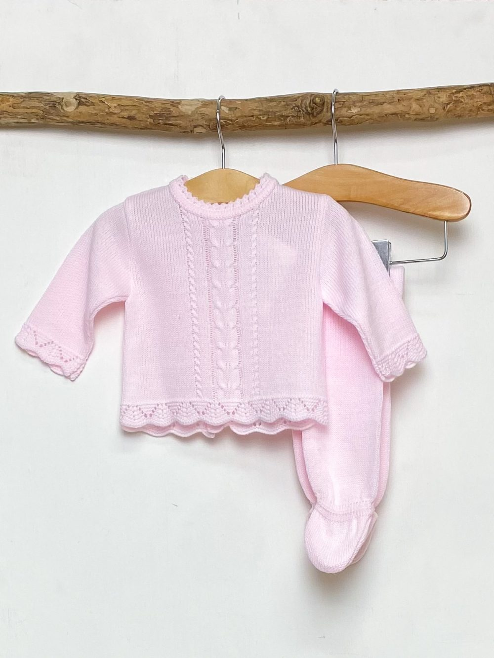 Pink Scallop Knitted Two Piece