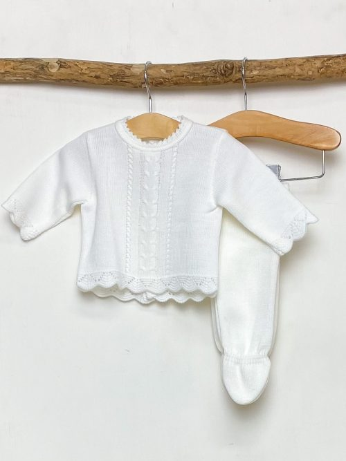White Scallop Knitted Two Piece