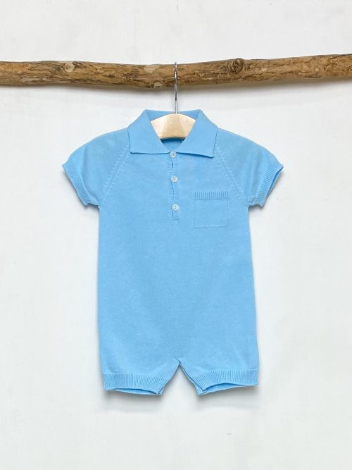 Blue Knitted Polo Romper
