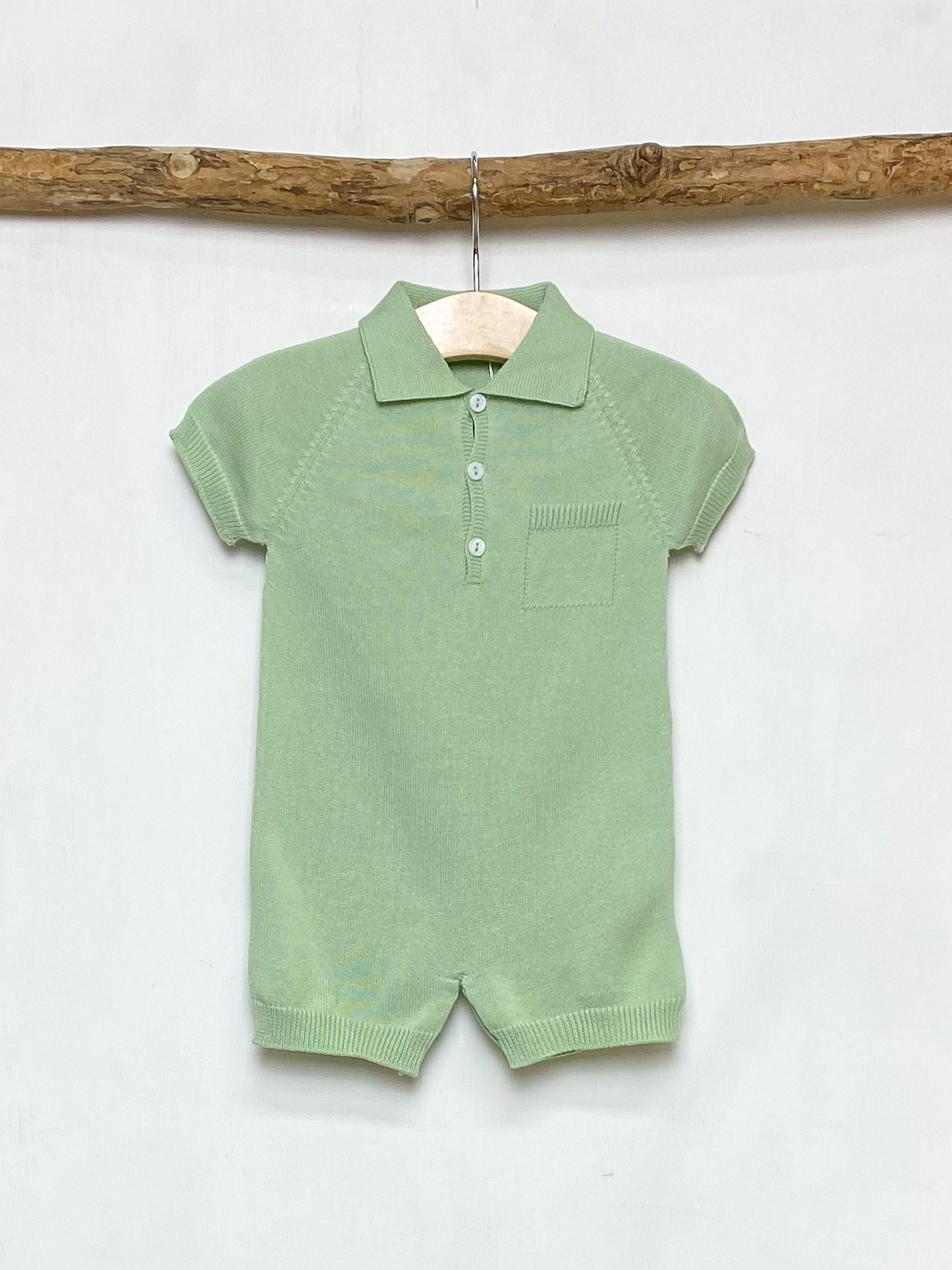 Green Knitted Polo Romper
