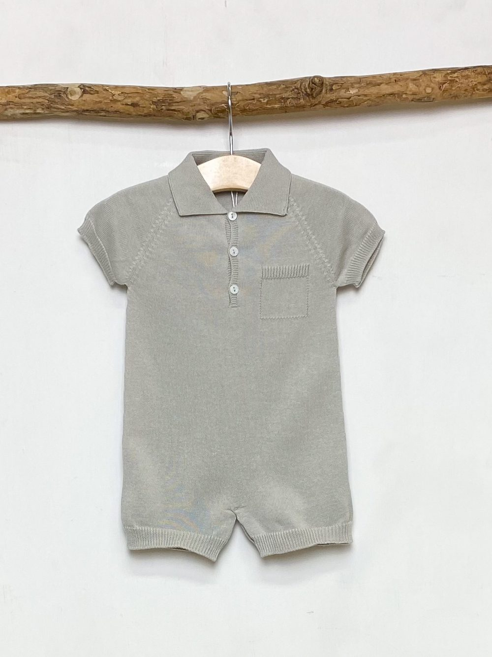 Taupe Knitted Polo Romper